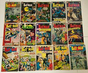 BATMAN #150 to 212 DC Silver Age Comic 15pc Run Lot Detective GD+ 2.5 to VG 4.0
