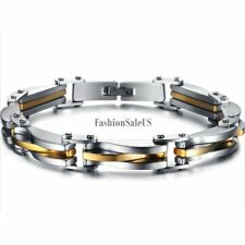 """Men's Silver Gold Tone Stainless Steel  Rhombus Bracelet Cool Chain 8.66"""" Link"""