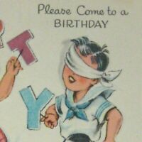 DA Line Card Birthday Party Invitation 1949 Used Pin the Tail on the Donkey