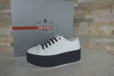 PRADA Gr 38 Plateau Schnürschuhe Sneakers 3E6266 Schuhe weiß blau NEU UVP 550€
