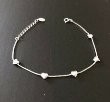 Genuine 925 Sterling Silver Puffed 3D Hearts Bracelet Women Girls Children