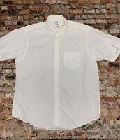 Brooks Brothers Men's XL White Cotton Button Down Short Sleeve Shirt #17C35