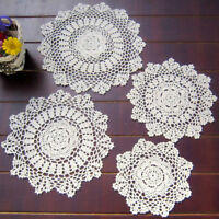 Vintage Handmade Crochet Doilies Round Table Mats Snowflake Placemat Doily Pad