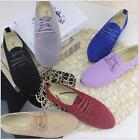 Womens Suede Leather Flats Loafers Ladies Lace Up Ballerina Ballet Pumps Shoes