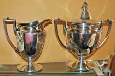 Homan Silverplate Creamer & Covered Sugar Bowl 0628 WM Mounts USA Nickel Tea