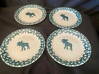 "Folkcraft Moose Country Tienshan Set of 4 Salad Plates 7.3/4"" Green Sponge"