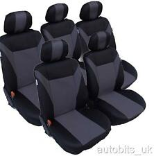 GREY-BLACK 5X FABRIC SEAT COVERS SET FOR SEAT ALHAMBRA