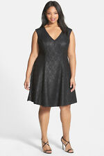 ABS Lace Front Fit & Flare Dress Black Size 14