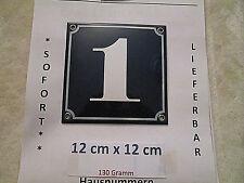 Hausnummer Nr. 1   weisse Zahl auf blauem Hintergrund 12 cm x 12 cm Emaille