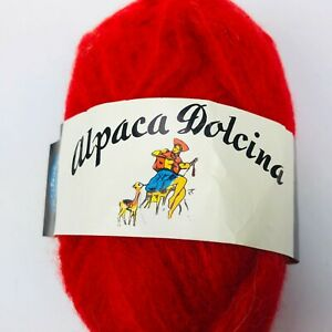 NOS Vintage Alpaca Blend Dolcina Yarn Red 1 Skein Ball Italian Italy Deadstock