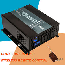 Power Inverter 1500W 12/24V to 120/220V Pure Sine Wave remote control wireless