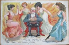 Risque 1904 Postcard: Women Dancing in Flames Around Man, Fire - Color Litho