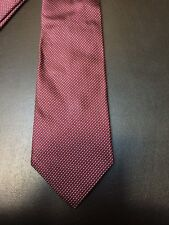Brooks Brothers 100% Silk Tie Red Navy Blue Silver Woven Stripe Pattern