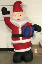 Rare Vintage Gemmy Santa with Blue Gift 8Ft 8'