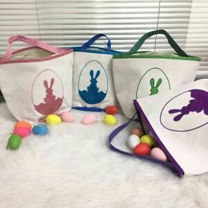 Easter Bunny Basket Tote Bag Canvas Bucket For Kids Party Candy Gift Supplies
