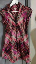 Ted Baker Pink Black Grey Check Shirt Dress Size 10/2 *VGC*