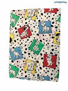 Vintage Disney 101 Dalmations Twin Flat Sheet  Puppies Dogs Color Block USA