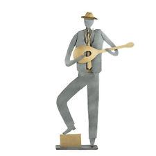 Bouzouki Player Figurine, Modern Handmade Metal Wall Art & Table Sculpture 9.5''