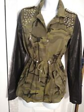 Small Anorak Camo Faux Leather Studs Jacket Forever 21 Free Shipping