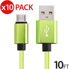 10x Micro USB Fast Charger Data Sync Cable Nylon Braided Cord for Samsung LG HTC