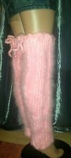 Special Offer!Luxury Premium Hairy Mohair.Sexy,Pink Leg Warmers,Hand Knitted/UK.