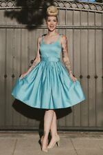 BNWT COLLECTIF BLUE JADE SWING DRESS ROCKABILLY PSYCHOBILLY 50s PINUP VINTAGE