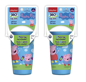 Playtex Peppa Pig Spill Proof 2 Piece Cup, Stage 2, 12M+, 10 oz, 1 cup (2 Pack)