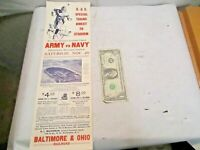 Nov. 26, 1938 Army vs Navy Football Game in Philadelphia B&O RR Adv. Poster - NR