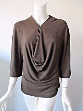Nicole Miller Collection Dark Brown Draped Front 3/4 Sleeve Stretch Top L