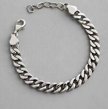 925 Sterling Silver Plated Curb Chain Unisex 8 mm Bracelet 16+4 cm + Bag UK