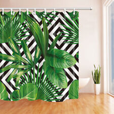 Green tropical palm leaf Shower Curtain Waterproof Fabric & 12hooks 71*106inches