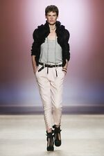 $3080 NWT Isabel Marant Skinny Slim Leather Crop Pants Pink Lace Up Legs Sz 36
