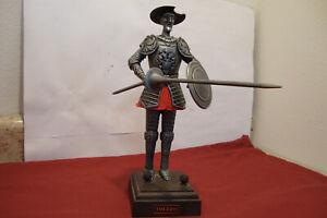 "Vintage Toledo Metal DON QUIXOTE Sculpture Figurine with Lance & Shield 10"" tall"