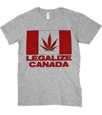 T-SHIRT T SHIRT MAGLIA MAGLIETTA LEGALIZE MARIJUANA CANADA DIVERTENTE GRIGIA