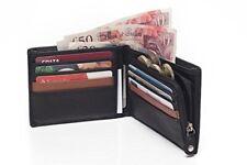 Mens Soft Leather Bifold Credit Card Holder - Zip Around Clutch- Coin Pocket - 8