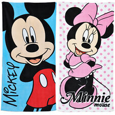 Childrens Disney Beach Towel Bath 100% Cotton Boys Girls Minnie or Mickey Mouse