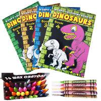 Kids Colouring Book DINOSAUR Children Fun Activity Girls Boys Wax Crayons School
