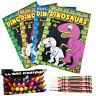 Kids Colouring Book DINOSAUR Children Fun Activity Girls Boys Wax Crayons School