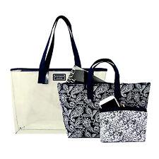 Large Clear Blue Shopper Beach Gym Tote Bag Paisley Inserts 3 Piece Set Handbag
