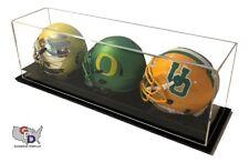 Acrylic Triple Mini Helmet Display Case Counter or Desk Top by GameDay Display