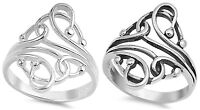 Sterling Silver 925 PRETTY FILIGREE FLORAL DESIGN SILVER RINGS SIZES 4-13