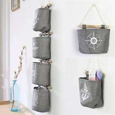 Cotton Linen Navy Style Grey Wall Hanging Storage Organizer Hanger Bags Storage