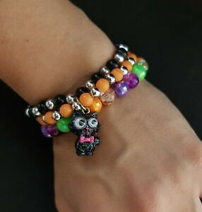 New Claire's Women's Girls Halloween Bracelet Multicolor Beads Kitten