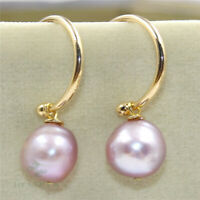 12-13mm Purple Baroque Pearl Earrings 18k Ear Drop Hook Party Aurora Women