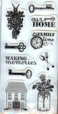 Cloud 9 Rubber Cling Stamps HOME  FAMILY TIME MAKING MEMORIES KEYS CLOCK