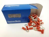 Box of 100 Thomas & Betts RA18-10 Nylon Sta-kon Ring Terminal 22-18 AWG #10 Stud
