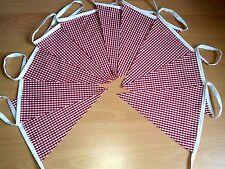10m Red Gingham Fabric Bunting Weddings Vintage Shabby Chic Handmade Classic