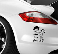 BETTY BOOP KISS MY ARSE Car Sticker Window Bumper JDM EURO VW DUB Vinyl Decal