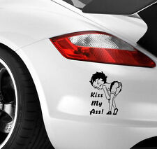 BETTY BOOP KISS MY ARSE Car Sticker Window Bumper JDM EURO VW DUB Vinyl Decal