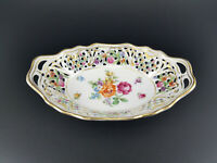 "Schumann Bavaria Dresden Art Line 6"" Pierced Oval Bowl Reticulated"